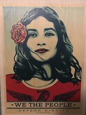 Shepard Fairey Obey Wood Print Defend Dignity Greater Fear We The People Trump