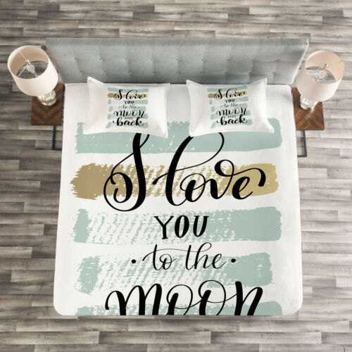 Details about  /I Love You Quilted Bedspread /& Pillow Shams Set Pastel Paintbrush Print