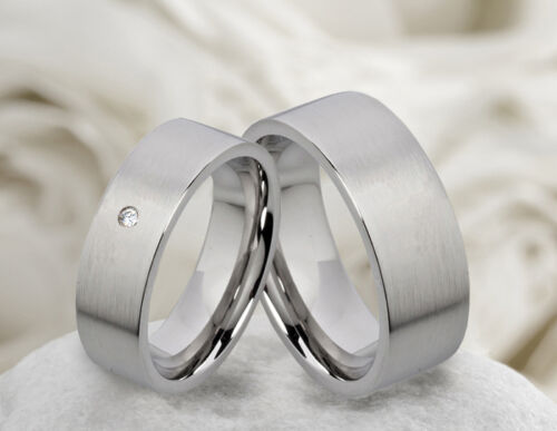 alianzas partnerringetrauringe de acero inoxidable con circonita anillo grabado m009