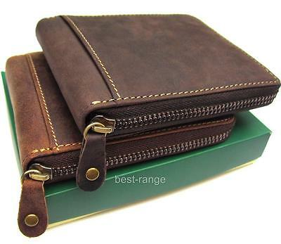 Visconti RFID Wallet Real Leather Zip-Around Hunter New in Gift Box 702