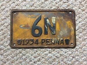 1934-Pennsylvania-2-Digit-License-Plate