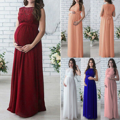 super cheap limpid in sight great prices Pregnant Women Long Lace Dress Maternity Maxi Prom Gown for Photography  Shoots   eBay