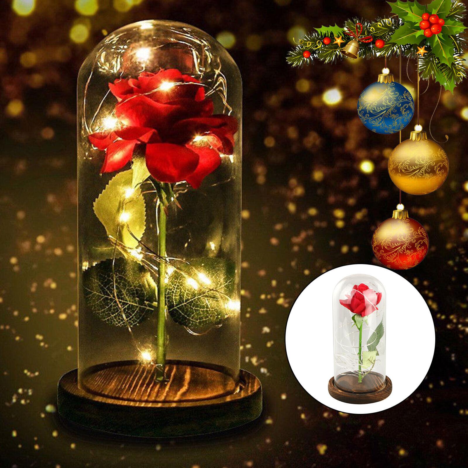 Rose Night Light in Enchanted Rose Elegant Glass Dome Pine Base Surprise Gift