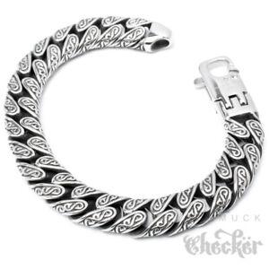 Verziertes-Herrenarmband-mit-S-Muster-Edelstahl-22cm-Hochwertiges-Bikerarmband