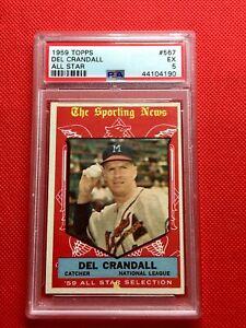 1959 Topps #567 Del Crandall All Star Milwaukee Braves PSA 5 EX Free Shipping