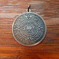 Vintage Mexico 925 Sterling Silver Mayan Sun God Calendar Pendant GOOD DETAIL