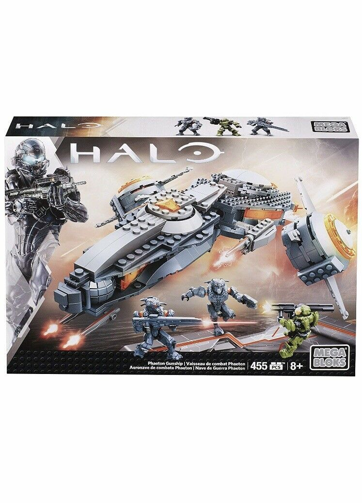 Mega Bloks Toy - Halo Phaeton Gunship 455 Piece Building Set + Action Figures