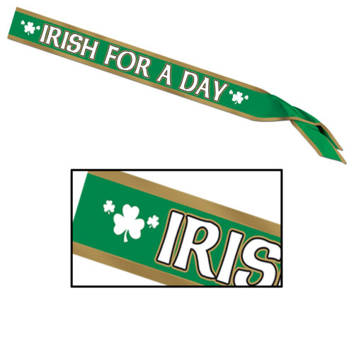 1 ST PATRICK/'S DAY Party Parade Pride Accessory IRISH FOR A DAY Satin SASH