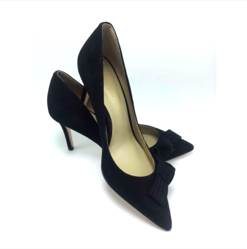 138 Ann Taylor Suede Bow Pumps in Black Size 9.5M 3.5''