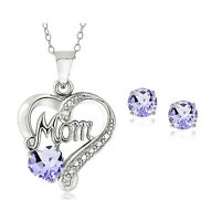 925 Silver Gemstone & Diamond Accent MOM Necklace & Earrings, 6 Colors