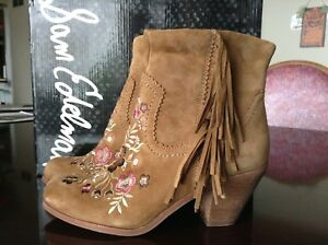 77dfd6edb725 Image is loading SAM-EDELMAN-LETTI-Embrodery-Suede-Ankle-Boots-Size-