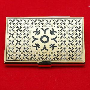 Korean alphabet gold business card case elegant id card metal case image is loading korean alphabet gold business card case elegant id colourmoves