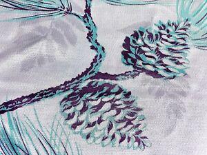 SALE-Luxe-Pinecones-amp-Sprigs-Barkcloth-Vintage-Fabric-Drape-Curtain-40-039-s-Deco