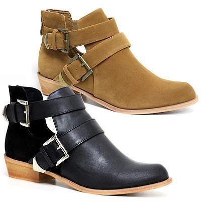 Ladies Womens Mid Block Heel Zip Up Cowboy Cut Out Ankle Biker Boots Shoes Size