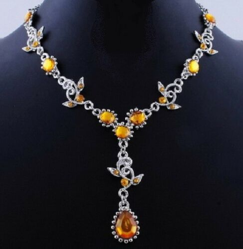 YELLOW RHINESTONE PARTY WEDDING NECKLACE and EARRING SET #F130