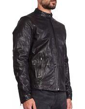 $698 New DIESEL L-THERMAL Black Leather Biker Jacket Men's Large L
