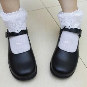 Cute-Lolita-Round-Toe-Women-Cosplay-Maid-Shoes-School-Mary-Janes-Shoes-Flats-Sz
