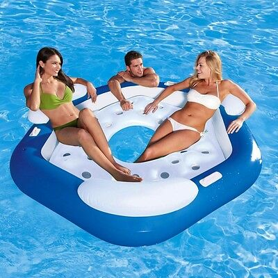 Inflatable Floating Swimming Pool 3 Person Water Play Toy Lounge Seat Bed Sofa