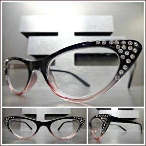 be394ce090fa VINTAGE RETRO CAT EYE Style READING EYE GLASSES READERS Bling Black ...