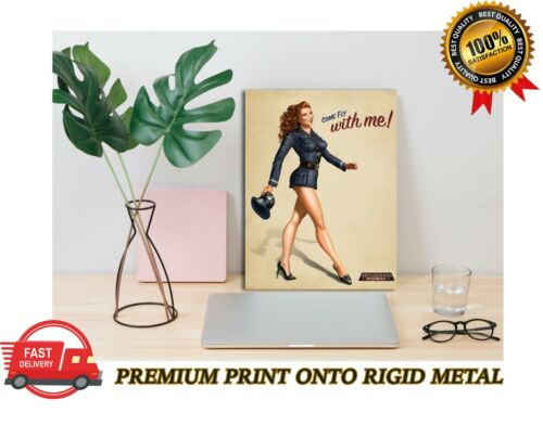 Vintage Pin Up Girl Come Fly With Me Premium METAL Poster Art Print Plaque Gift