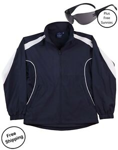 Adult-Warm-Up-Jacket-Tracksuit-Top-NAVY-White-PLUS-free-sunnies