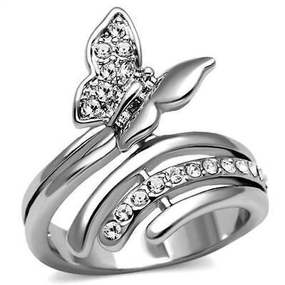 Butterflt Theme Cubic Zircon CZ AAA Stainless Steel Cocktail Women Ring TK2874