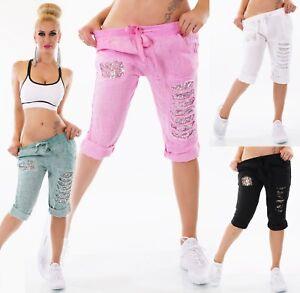 Italy-Mujer-Capri-Bermudas-Pantalon-Lino-Jogpants-Lentejuelas-Rasgones-Harapos