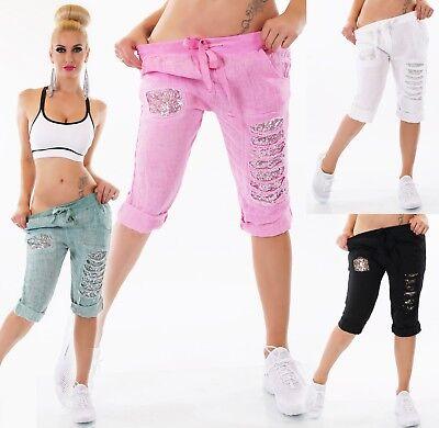 Women's Clothing Pants Obedient Italy Damen Capri Bermuda Shorts Hose Leinen Jogpants Pailletten Risse Fetzen