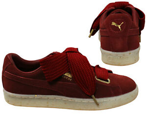 b9dc19b7eb3ac Details about Puma Suede Heart Celebrate Lace Womens Low Top Trainers Red  Dahlia 365561 02 Q5K