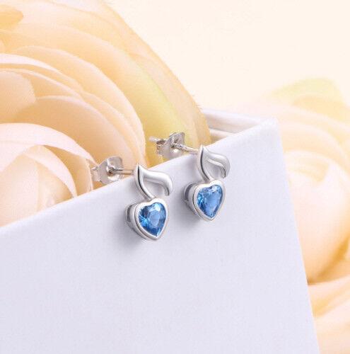 Ohrstecker mit Note Noten Musik Herz mit blauem Zirkonia in 925 Sterling Silber