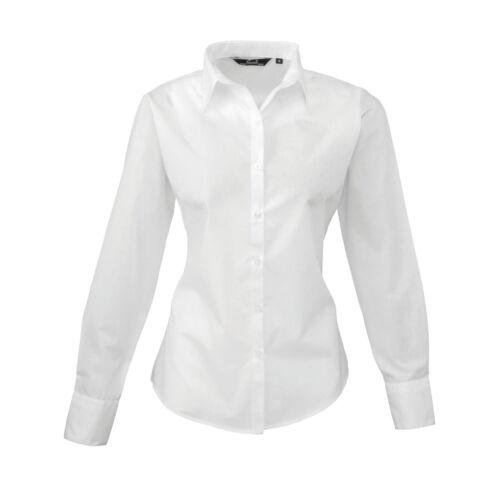 Ladies Women Premier Poplin Long Sleeve Plain Colour Fitted Blouse ...