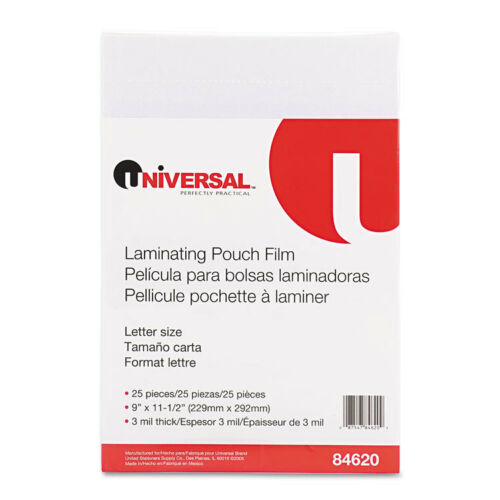 PK 3 mil 25//Pack 9 x 11-1//2 UNV84620 Universal Clear Laminating Pouches