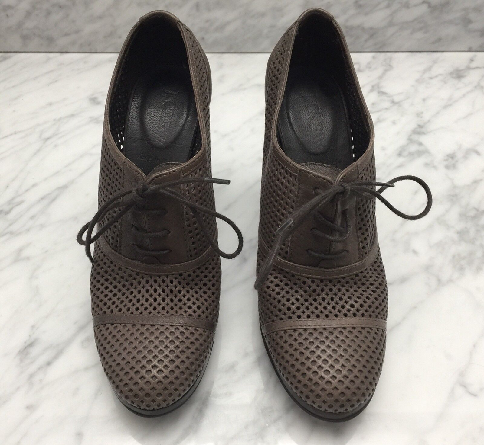 J CREW Brown Perforated Leather Lace Up Heals Sz 6M Made in