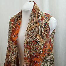 Women's Orange Brown Wrap Scarf Holes for Arms