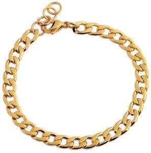 Armband aus Edelstahl Gold Damen Armbänder schlicht 18cm lang Panzerkette Edel