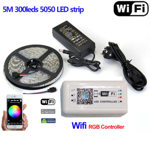 5M 10M SMD 5050 RGB LED Strip Light Power Wifi Remote Controller By Phone APP