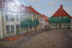 Klosterhof-Guestrow-1919-Olbild-E-Hardt-ca-101x62cm-neu-gerahmt-RARE