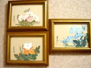 Japanese signed silk painting flowers picture framed21 cm x 17 cm image is loading japanese signed silk painting flowers picture framed 21 mightylinksfo