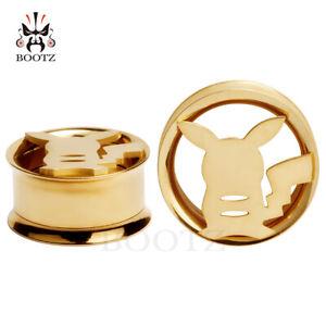 1-Pair-Pikachu-Stainless-Steel-Ear-Plugs-Screw-Fit-Gauges-Tunnels-Earrings