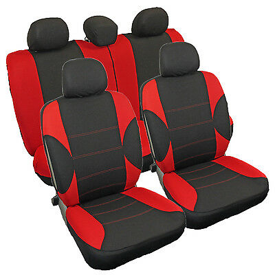 Protective Car Seat Covers Protectors Set Red Black Suitable For Peugeot