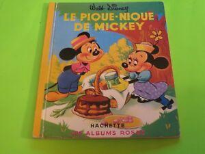 Le-Pique-nique-de-Mickey-albums-roses-Hachette-Walt-Disney-1972-French-book