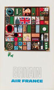 Affiche Originale - Raymond Pages - Air France - Britain - Tourisme - 1971