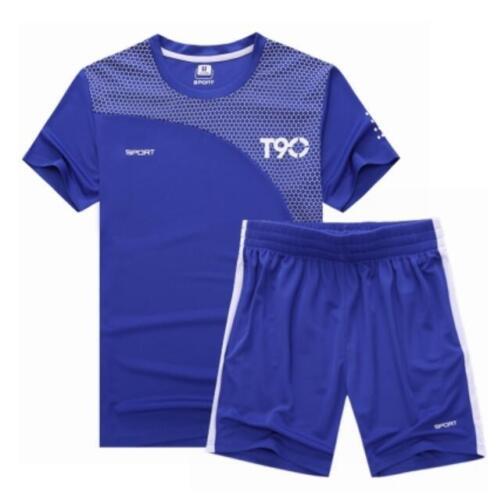Men Summer TrackSuit  T Shirt Sport Suit Sets Pants Gym Jogging Running Wear
