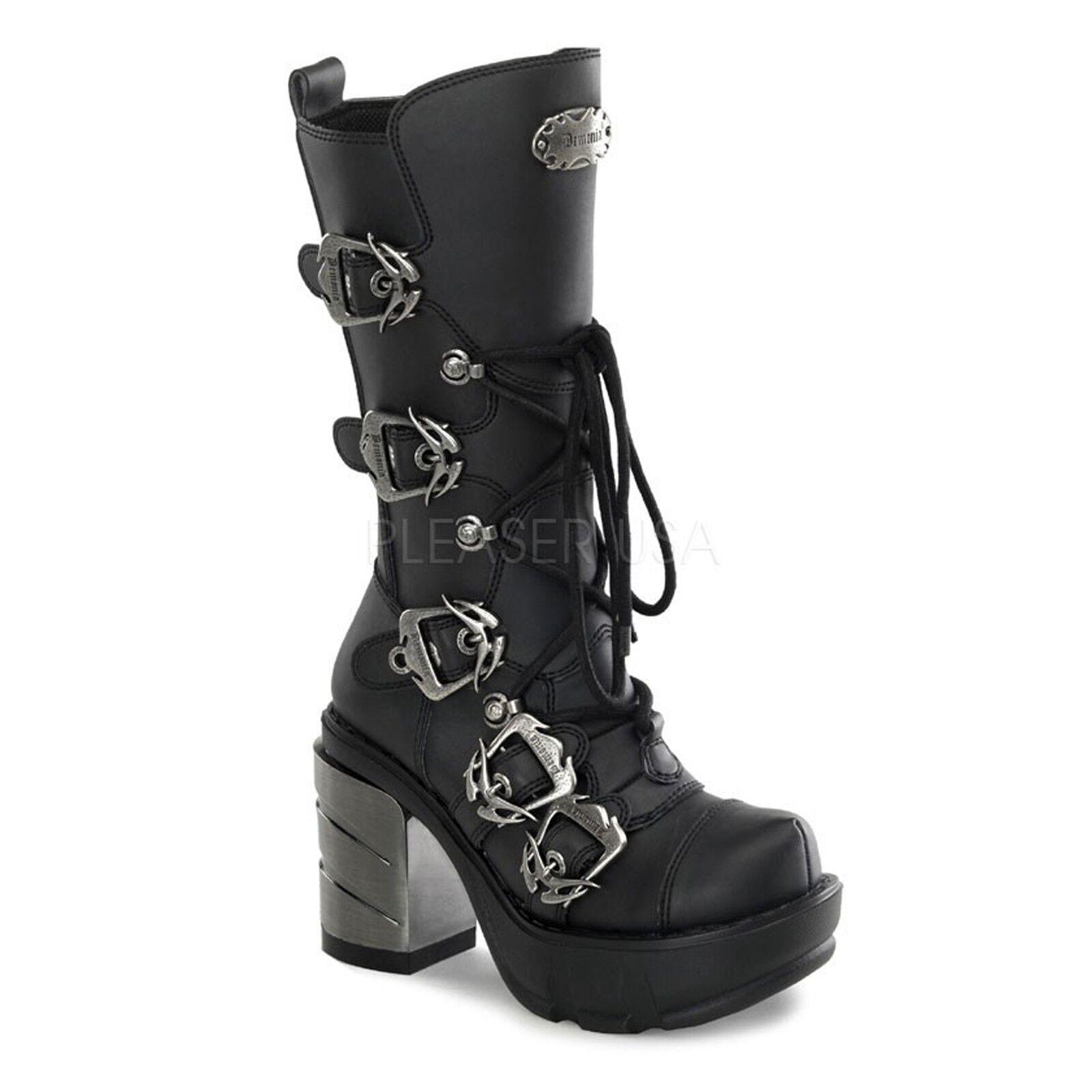 Demonia Sinister-203 - Gothic Industrial Metall High Heels Stiefel 5 Schnallen V