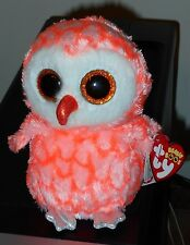 """Ty Beanie Boos - CORA the 6"""" Pink Owl ~ Justice Exclusive ~ 2016 NEW ~IN HAND"""