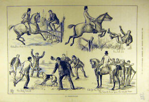 Original-Old-Antique-Print-1881-Obstructionist-Horse-Rider-Hunter-Hunt-Hound