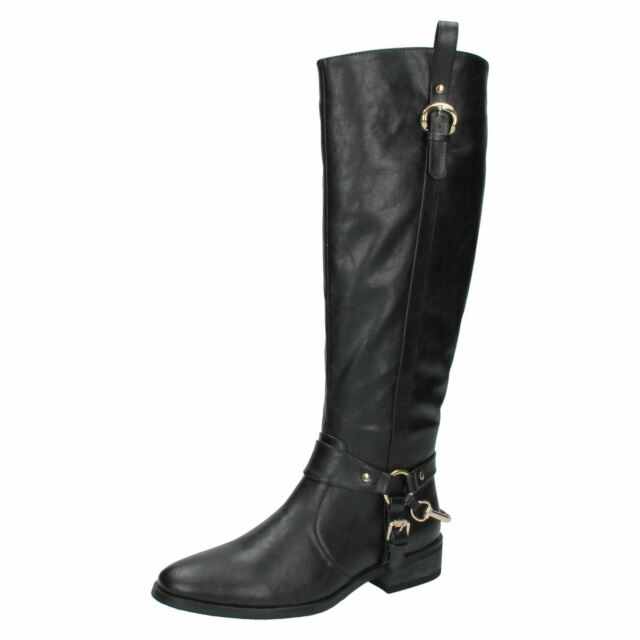 8887ec233c66 Ladies Spot on Black Riding Style Knee High BOOTS 1.25