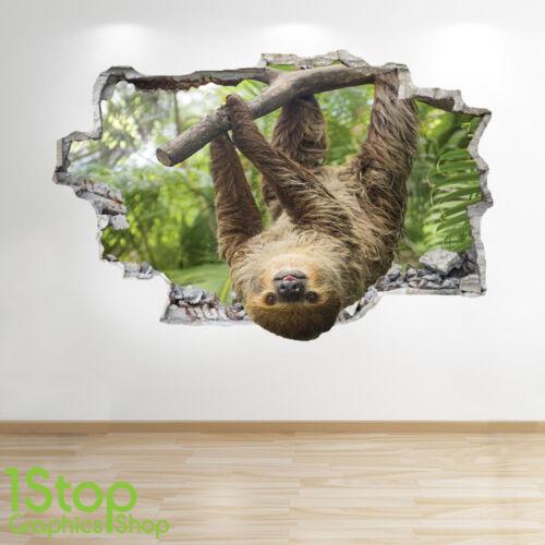 Chambre Salon Nature Animal Z590 Paresseux Autocollant Mural 3D Look
