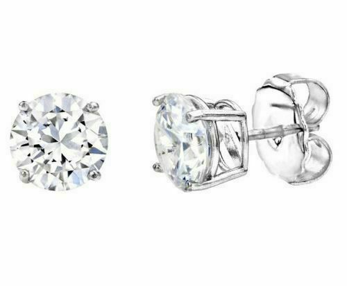 2.00ct Solitaire Earrings For Women 14K White Gold Finish Silver 4-Prong Stud A4
