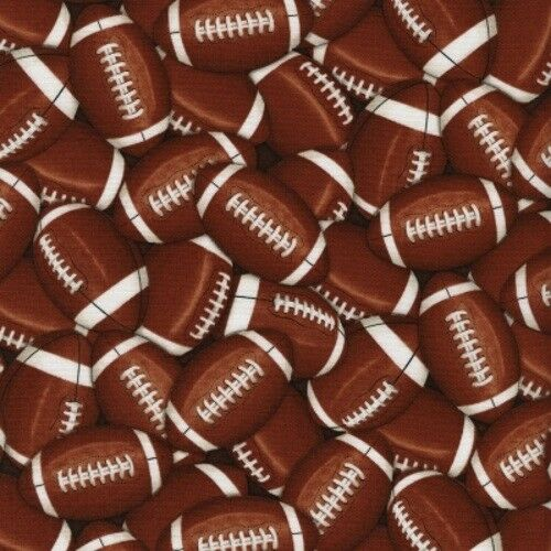 Timeless Treasures C4822 Brown Packed Footballs Cotton Fabric